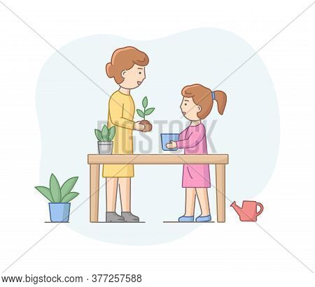 Motherhood Concept. Mother Spending Time With Daughter, Planting Plants, Enjoying Spending Time Toge