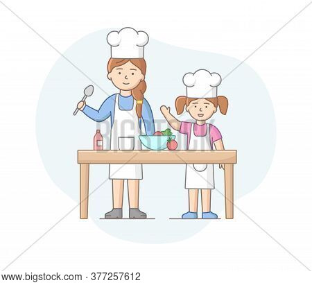 Motherhood Concept. Mother Spending Time With Daughter, Cooking Healthy Meal, Enjoying Spending Time