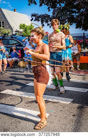 Provincetown, Massachusetts Us - August 22, 2019 People Walking In The Annual Provincetown Carnival