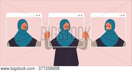 Arab Woman Holding Web Browser Windows With Different Masks Girl Covering Face Emotions Fake Feeling