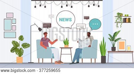 Friends Reading Newspaper Discussing Daily News During Meeting Chat Bubble Communication Concept Mix