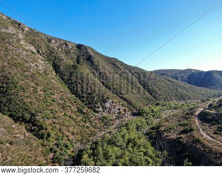 Aerial View Of Bernardo Mountain, Great Hiking Trail In Rancho Bernardo, East San Diego County, Cali