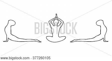 Man Practices Yoga In Lotus Position, Cobra Banner Border Hand Drawn In Doodle Style. Vector, Scandi