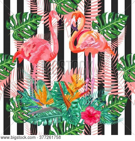 Seamless Pattern With Dark Grunge Stripes And Pink Flamingo. Pink Flamingo Design