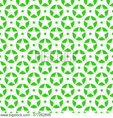 Vector Design Of White Star Patterns In Green Circles