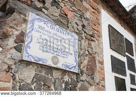 Colonia Del Sacramento / Uruguay; Jan 2, 2019: Commemorative Plaque: 300 Years Of Struggle And Love.