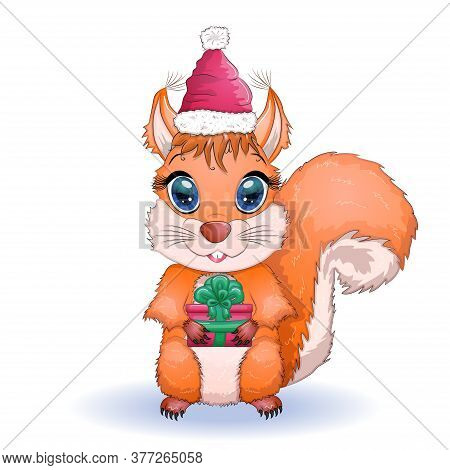 Cute Cartoon Squirrel With Beautiful Eyes In A Santa Claus Hat With A Christmas Gift, Candy Cane, Ba
