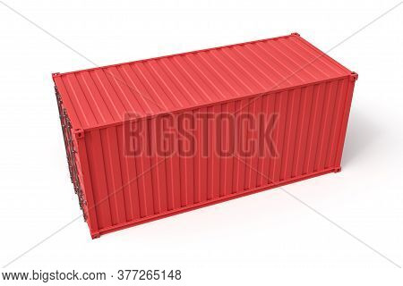 3d Rendering Of Closed Red Cargo Container Isolated On White Background.