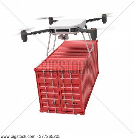 3d Rendering Of Drone Lifting Red Shipping Container Isolated On White Background