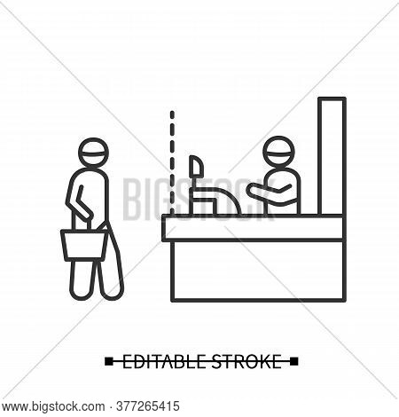 Shop Social Distance. Consumer Keeping Safe Physical Distance At The Shop Counter Line Pictogram. Co