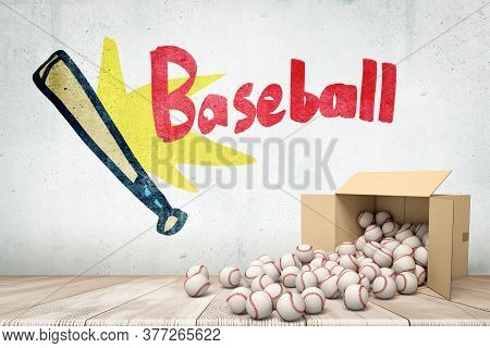 3d Rendering Of Cardboard Box Lying Sidelong With Baseballs Scattering Out Of It Near Grungy Wall Wi