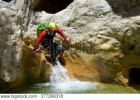 Canyoneering Formiga Canyon in Guara Mountains, Huesca Province in Spain.