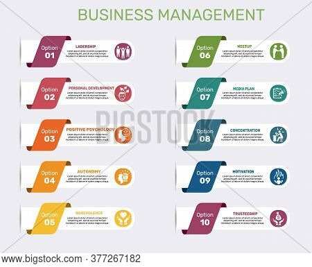 Infographic Business Management Template. Icons In Different Colors. Include Leadership, Personal De