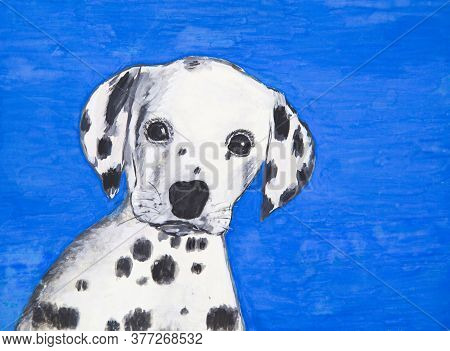 Portrait Of A Puppy Dog Breed Dalmatian On A Blue Background. Watercolor Painting.
