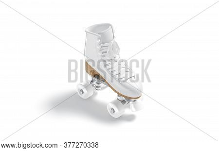 Blank White Roller Skates With Wheels Mock Up, Side View, 3d Rendering. Empty Old-fashioned Shoe For