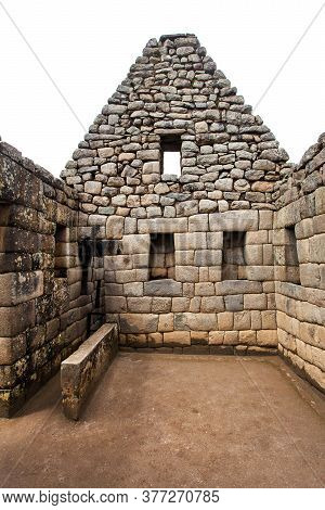 Machu Picchu, Detail From Peruvian Incan Town, Unesco World Heritage Site, Sacred Valley, Cusco Regi