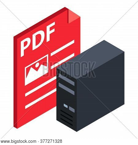 Pdf File Icon. Isometric Illustration Of Pdf File Vector Icon For Web