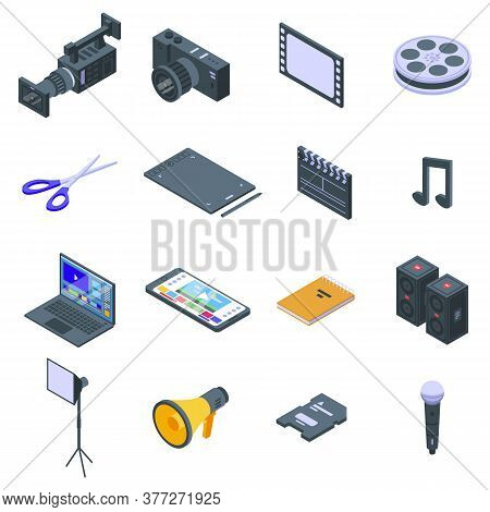 Video Editing Icons Set. Isometric Set Of Video Editing Vector Icons For Web Design Isolated On Whit