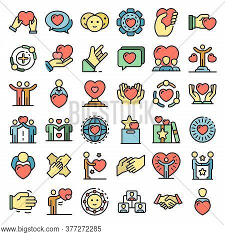 Friendship Icons Set. Outline Set Of Friendship Vector Icons Thin Line Color Flat On White
