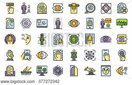 Biometric Authentication Icons Set. Outline Set Of Biometric Authentication Vector Icons Thin Line C