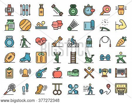 Outdoor Fitness Icons Set. Outline Set Of Outdoor Fitness Vector Icons Thin Line Color Flat On White
