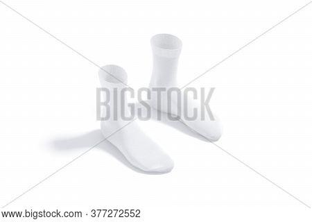 Blank White Long Socks Mockup Pair, Side View, 3d Rendering. Empty Underwear Quarter Fabric Sox Mock