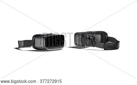 Blank Black Virtual Reality Goggles Mockup, Front And Back Side, 3d Rendering. Empty Immersion Simul