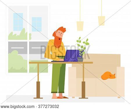Adjustable Table Home Office. Flat Vector Picture. Health Care Ergonomic Place.