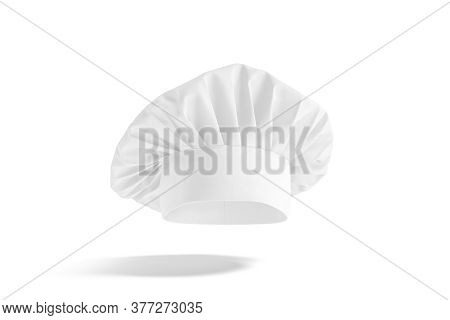 Blank White Toque Chef Hat Mockup, No Gravity, 3d Rendering. Empty Professional French Chief Cap Uni
