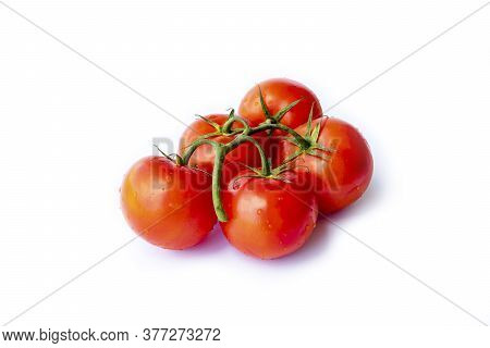 On A White Background. No Isolation. Red Tomato On A Green Branch. There Is A Shadow.
