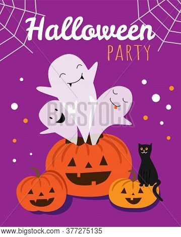 Halloween Party Poster. Three Ghosts Fly Out Of The Pumpkin. The Cat Is Sitting On A Pumpkin.