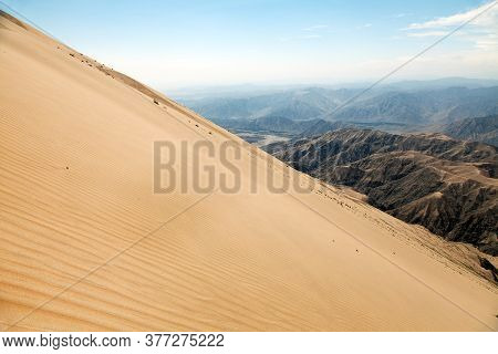 Cerro Blanco Sand Dune, One Of The Highest Dunes On The World Located Near Nasca Or Nazca Town In Pe