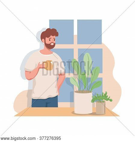 Happy Smiling Man Enjoying A Hot Morning Cup Of Tea Or Coffee Greeting A Day Vector Flat Illustratio