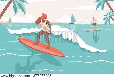 People In Swimming Suits Doing Summer Activities In The Sea. Happy Woman And Man Surfing On Boards V