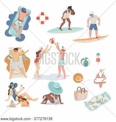 Summer People And Items Vector Flat Illustration. People In Swimming Suits Doing Summer Activities.