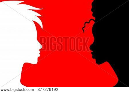 Conversation - Two Woman Black And White Having A Dialog. Woman Of Color Speaking Up. Black And Red.