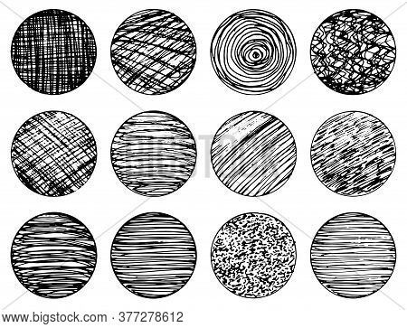 Set Of Isolated Vector Black Grunge Textured Ink Brush Geometric Circles. Dirty Scratched Hand Drawn