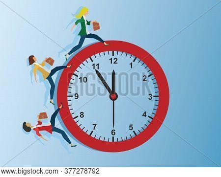 Running To Deadline. Women Runs Around The Clock. Vector Illustration.
