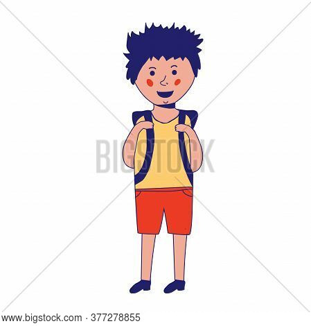 Happy Caucasian Schoolboy Holding A Book And Waving His Hand. Full Length Of Smiling Schoolboy Makin