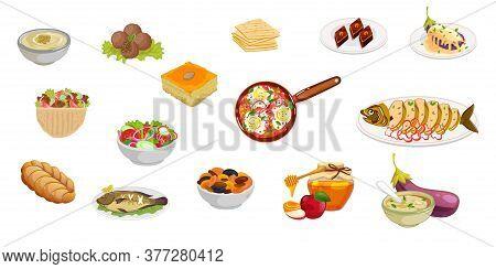 Set Jewish And Dish Middle Eastern Traditional Food. Knafe, Baklava, Eggplant, Hummus , Falafel, Gef