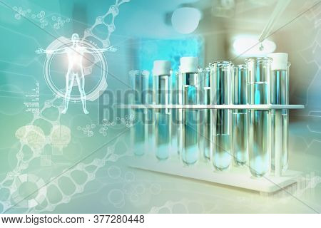 Laboratory Test Tubes In Modern Microbiology Study Clinic - Potable Water Quality Test For Bacteria