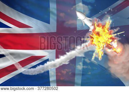 United Kingdom (uk) Intercepted Ballistic Warhead, Modern Antirocket Destroys Enemy Missile Concept,