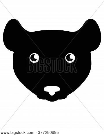 Mouse Or Rat Silhouette - Stock Illustration For Logo Or Pictogram. Mouse Face - Black Icon. Smiley
