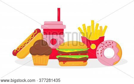 Fast And Unhealthy Food Concept. Vector Illustration On White Background.