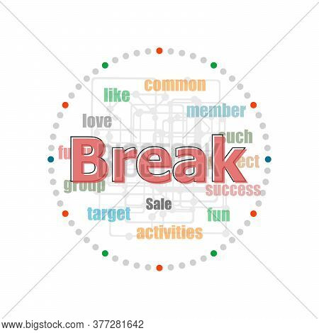 Word Break On Digital Screen, Business Concept . Word Collage With Different Association Terms