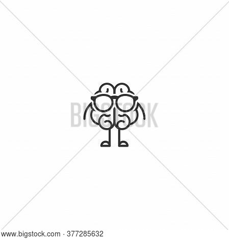 Black Brain Character With Legs, Hands And Glasses. Intellect, Education, Knowledge Simple Pictogram