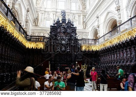 Cordoba, Spain - September 02, 2015: The Interior Of Mosque-cathedral Of Córdoba, The Cathedral Of O