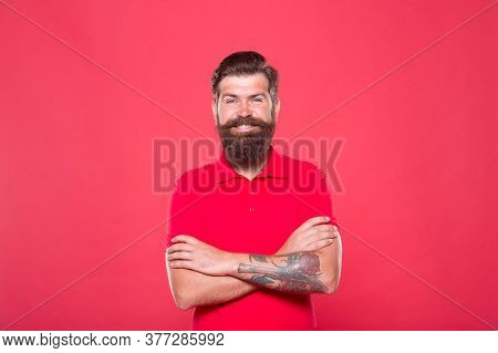 Hairdresser Salon. Brutality And Confidence. Barbershop Model. Perfect Male. Portrait Of Bearded Man