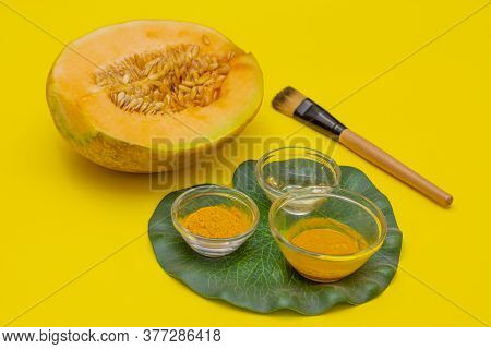 Homemade, Summer Face Mask With Musk Melon And Turmeric  For Face Exfoliation And Detoxification