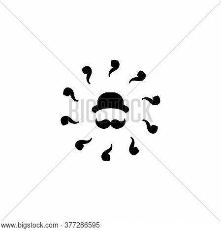 Silhouette Of Mans Head With Big Moustache, Bowler Hat And Smoking Pipes.